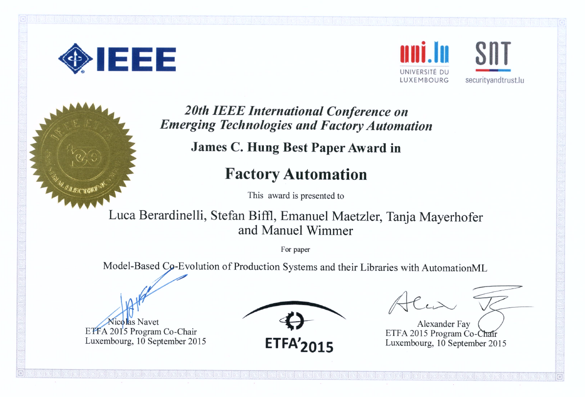 ETFA Best Paper Award